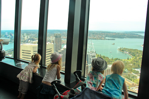Our girls looking at Sydney's view, January 2012