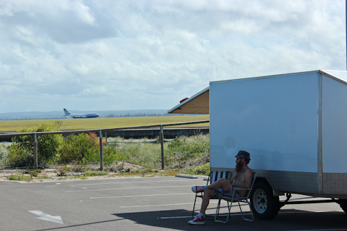 David sitting outside the trailer at Foreshore Drive, January 2012