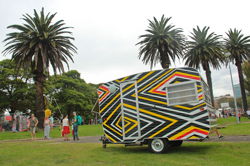 Colourful caravan at Yabun, January 2012