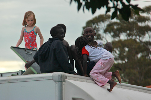 Playing in the top of our truck, February 2012