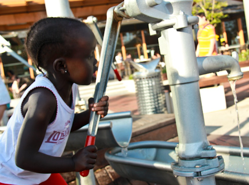 Hakima on the water pump at Tumbalong, February 2012
