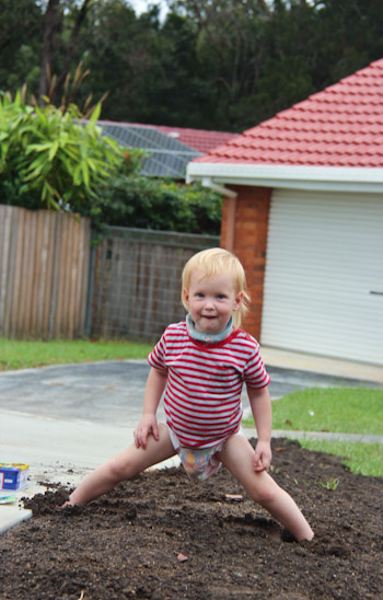 Delaney playing in te dirt, March 2012