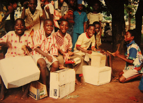 African boys with makeshift drums, circa 1988