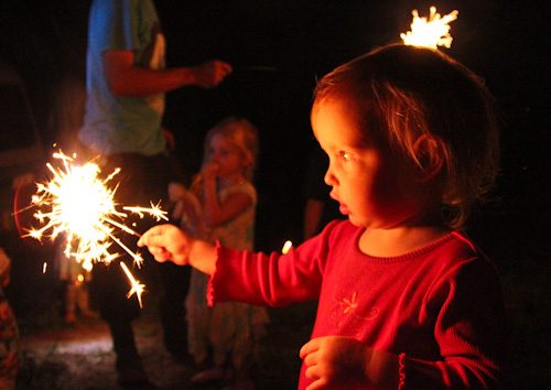 Delaney with a sparkler, March 2012