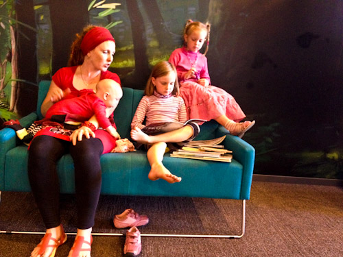 Reading in the Te Ahu Centre, Kaitaia, Far North, Northland, New Zealand, April 2012