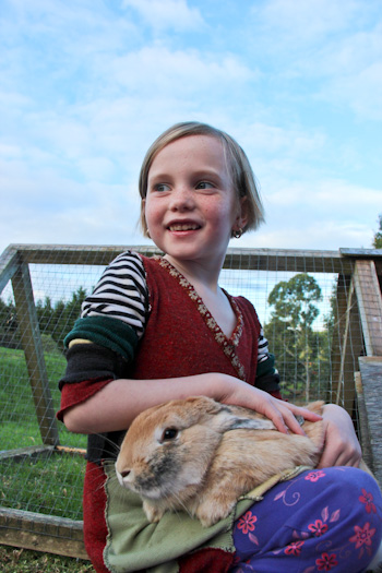 Aisha and Max the rabbit, April 2012
