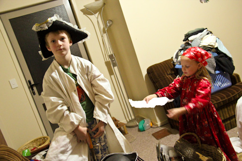 Tom and Brioni playing as pirates, April 2012