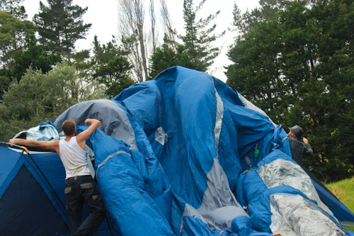 Setting up a tent, May 2012