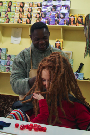 Getting my dreadlocks tightened, May 2012
