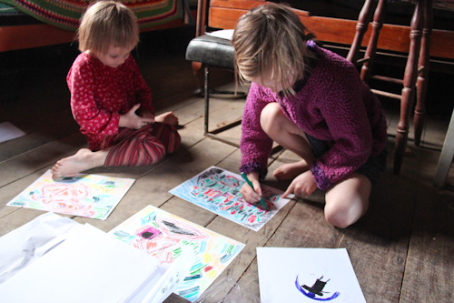 Calista and Brioni drawing, June 2012
