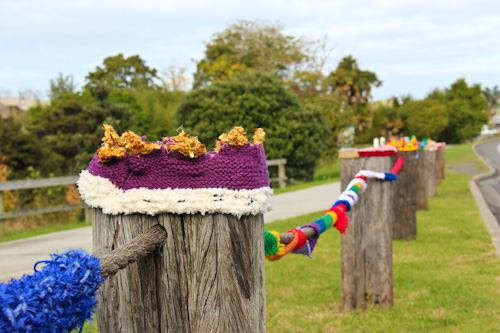 Yarn bombing at Matakana, June 2012