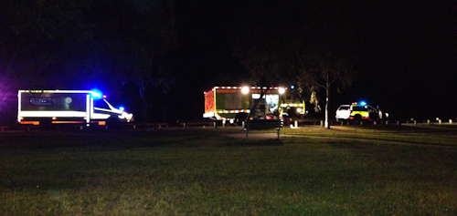 Emergency services vehicles at Logan River Parklands, June 2012