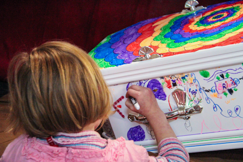 Brioni drawing on Elijah's coffin, July 2012