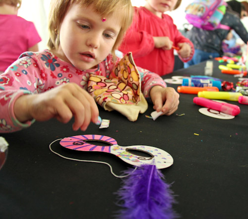 Calista making a mask, July 2012