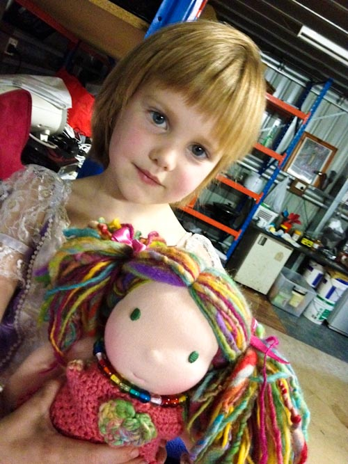 Calista with her Waldorf doll, July 2012