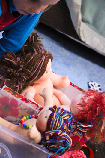Playing with Waldorf dolls, July 2012