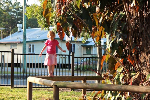 Playing at Settlers Rotary Park, Sunshine Coast Hinterland, July 2012