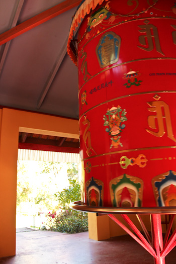 Prayer wheel at Chenrezig Institute, August 2012