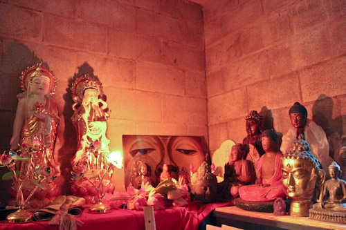 Inside the shrine at Chenrezig Institute, August 2012