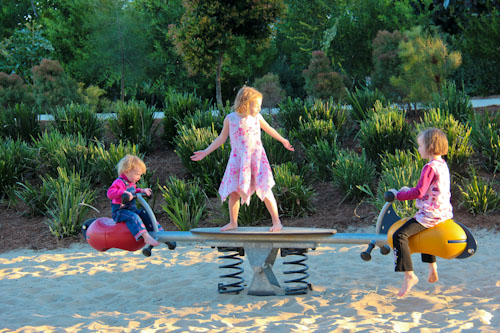 Delaney, Brioni and Aisha on the playground, Broadwater Parklands, August 2012
