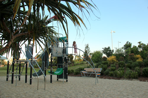 Calista on the playground, Broadwater Parklands, August 2012