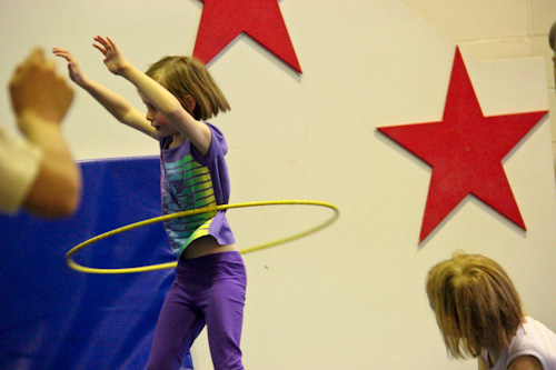 Aisha hooping at the Aerial Angels Academy, August 2012