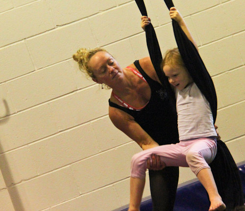 Leigh-Anne helping Brioni on the aerial silks, Aerial Angels Academy, August 2012