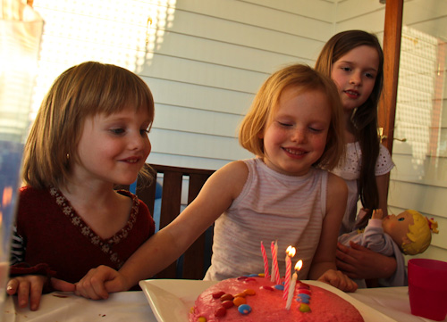 Calista, Brioni and Sophie at Brioni's sixth birthday, August 2012