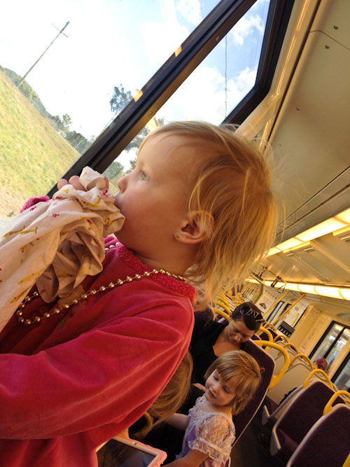 Delaney and Calista on the train, August 2012