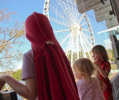 Aisha, Delaney and Calista looking at South Bank, Brisbane, September 2012
