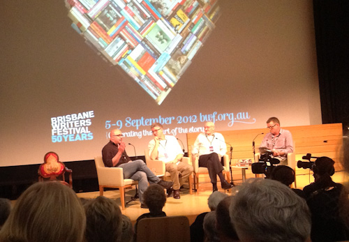 Scott Stephens, David Marve, Richard Holloway and Paul Barclay at Brisbane Writer's Festival, September 2012