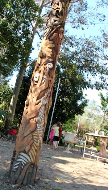 Totem carved by Bob McMahon, Northey Street City Farm, September 2012