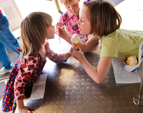 Girls sharing ice creams, September 2012