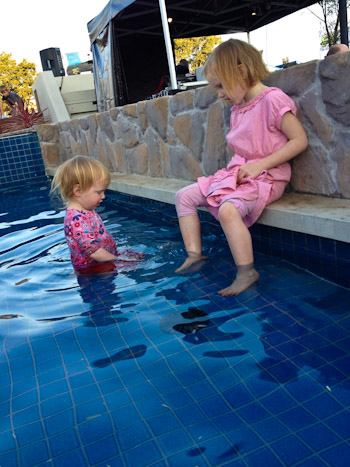 Delaney and Brioni in the fountain at Kingaroy, September 2012