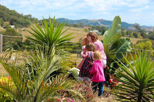 Girls in the garden, Kilcoy, Sunshine Coast, September 2012