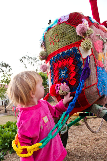 Yarn-bombed tractor, Kingaroy, September 2012