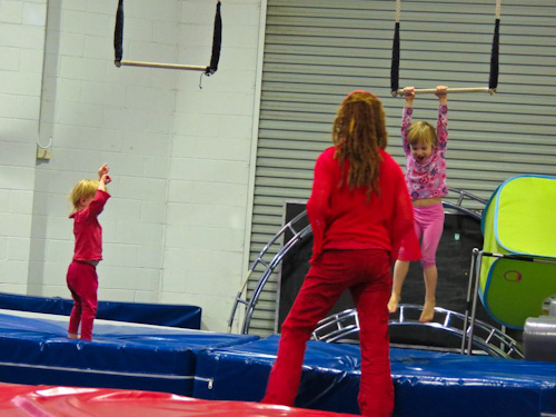 Delaney and Calista playing at the circus workshop, August 2012
