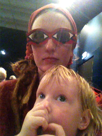Lauren with 3D glasses on and Delaney, September 2012