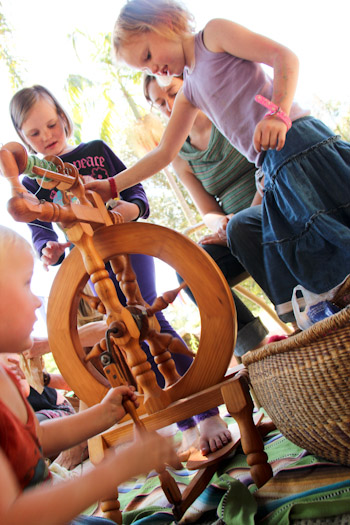 Playing with the spinning wheel, October 2012
