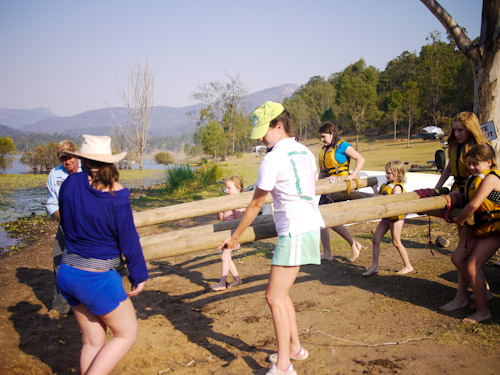 Building a raft, homeschoolers camp, Sports Tuition, Camp Lake Fire, October 2012