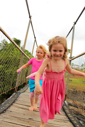Brioni and Calista on the suspension bridge at Paronella Park, November 2012