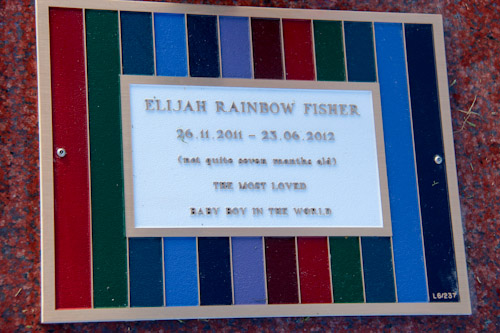 Elijah's plaque, November 2012