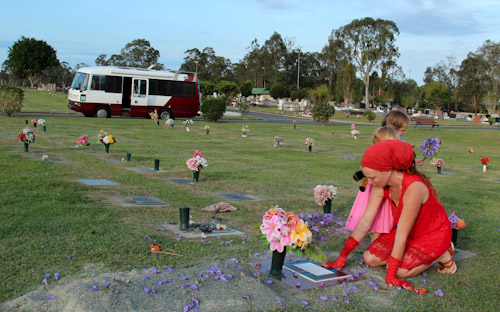 Lauren and the girls at Elijah's grave, November 2012