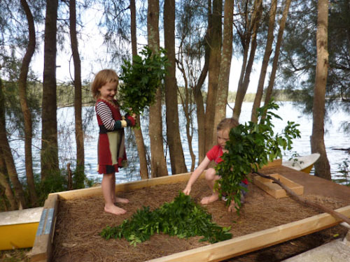 Calista and Aisha playing at Lake Conjola, December 2012