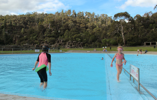 Swimming at Cataract Gorge Reserve, Launceston, December 2012