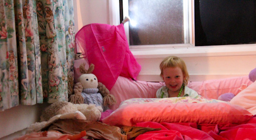Delaney in Lalita's bed, November 2012