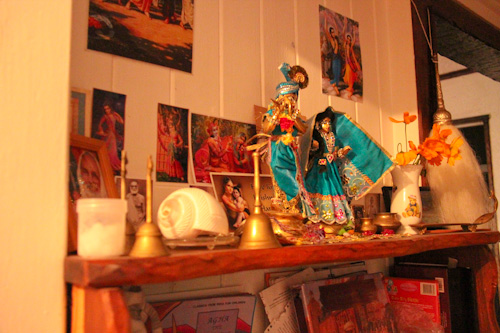 Krishna gods on the family altar in Sudevi and Venu's home, November 2012