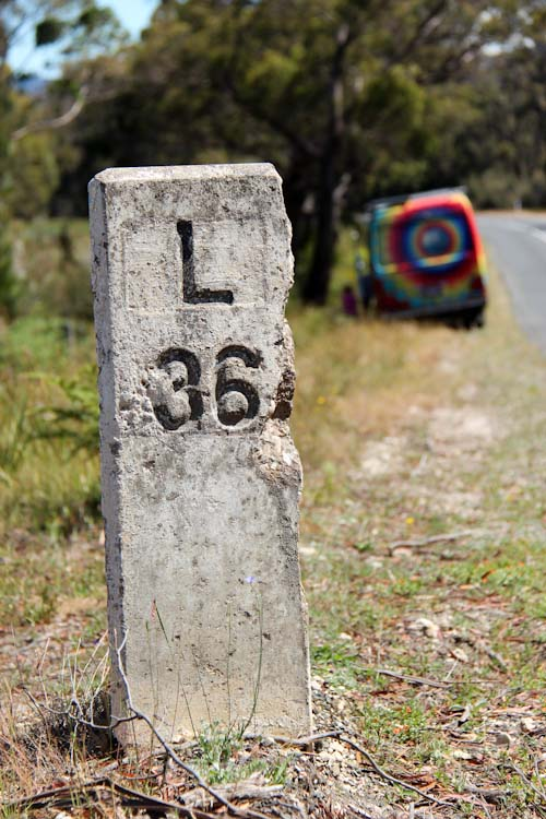 The Gifted Gypsy past an L 36 marker, Tasmania, January 2013