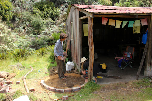 Giles and Dan building a cob oven, Rainbow Gathering, Tasmania, December 2012