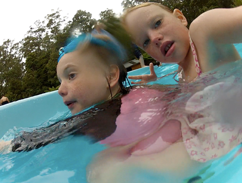 Aisha and Brioni in the Hastings Thermal Pool, Tasmania, January 2013